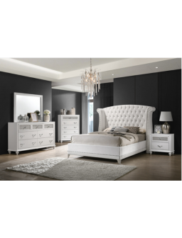 300843 - Barzini Queen Wingback Tufted Bed White