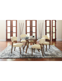 122180 - Paxton Round Glass Top Dining Table Nutmeg